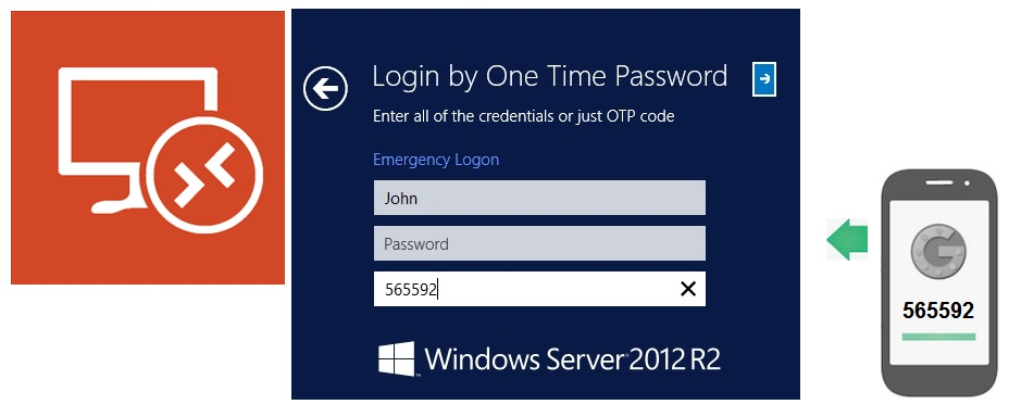 Secure 2-factor authentication for Remote Desktop login by