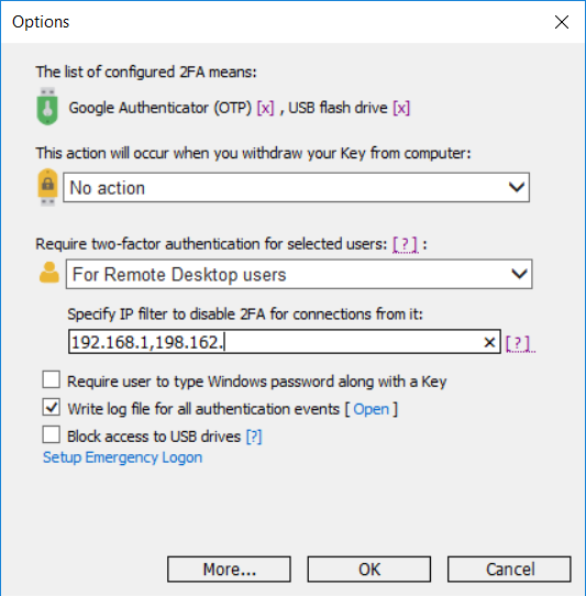 Secure 2-factor authentication for Remote Desktop login by OTP codes