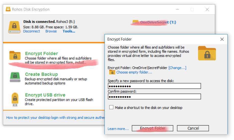Rohos Disk folder encryption for Google Drive / OneDrive – Rohos