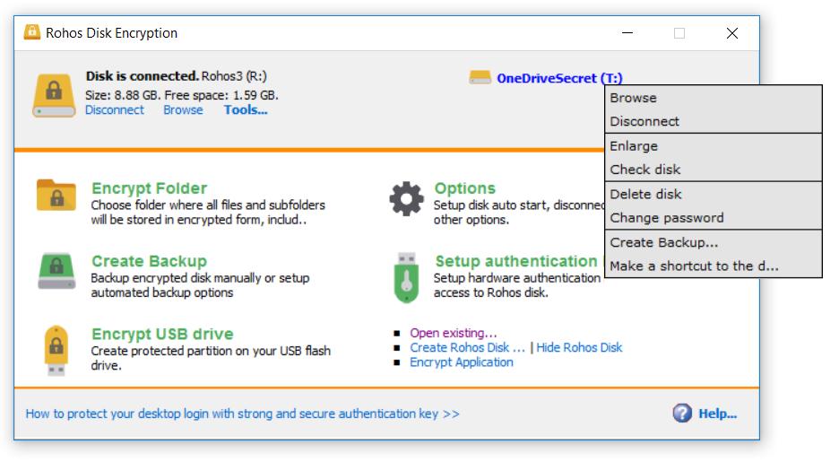 Rohos Disk folder encryption for Google Drive / OneDrive – Rohos